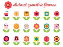 18 abstrakta färgrika geometriska blommor stock illustrationer