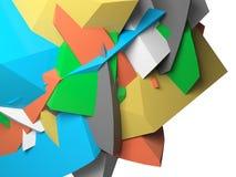 Abstrakta färgrika kaotiska polygonal fragment 3d Royaltyfria Bilder