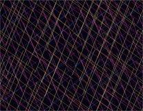 Abstrakta färgrika linjer som överlappar svart bakgrund för konst stock illustrationer