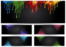Abstrakta färgrika målarfärgkörningar Arkivfoto