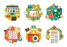 Abstrakta färgrika plana affärs- och finanssymboler Arkivbild