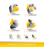 Abstrakta för logokub för uppsättning 3d grå färger för guling för symbol Arkivfoto
