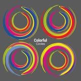 Abstrakta f?rgrika cirklar f?r teknologikommunikationsdesign stock illustrationer
