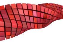 Abstrakta fala zawijasa 3d kształt w czerwieni menchiach Zdjęcie Royalty Free