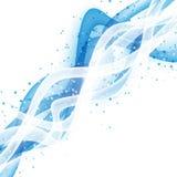 Abstrakta falowy nowożytny układ z świeżym białym błękitnym swoosh Royalty Ilustracja