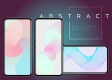 Abstrakta fluid vektortapeter för telefon X Ensam fryst tree stock illustrationer