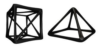 Abstrakta former 3D för mörker Fotografering för Bildbyråer