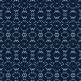 Abstrakta formlinjer mönstrar den sömlösa vektormodellen Indigoblå blå Batik vektor illustrationer