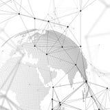 Abstrakta futuristiska nätverksformer Tekniskt avancerad bakgrund, förbindande linjer och prickar, polygonal linjär textur Världe royaltyfri illustrationer