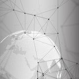 Abstrakta futuristiska nätverksformer Tekniskt avancerad HUD bakgrund, förbindande linjer och prickar, polygonal linjär textur Vä royaltyfri illustrationer