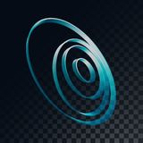 Abstrakta futuristiska volymetriska cirklar för blått 3d, cirklar på en genomskinlig mörk och rutig svart bakgrund från fyrkanter stock illustrationer
