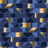 Abstrakta geometriska former kopplar ihop den sömlösa modellen i retro 70-talvibes royaltyfri illustrationer