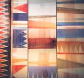 Abstrakta geometriska modeller på trä Royaltyfria Foton