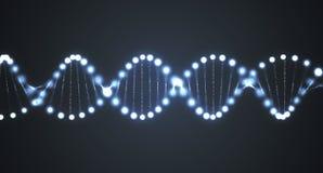 Abstrakta glödande DNAmolekylar på svart bakgrund framförd illustration 3d stock illustrationer