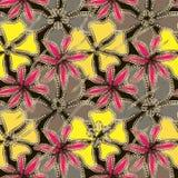 Abstrakta gråa, gula karmosinröda blommor i guld- ram med diamanter vektor illustrationer