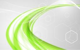 Abstrakta gröna vågor - begrepp för dataström också vektor för coreldrawillustration royaltyfri foto