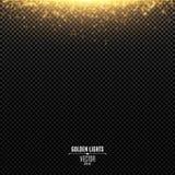 Abstrakta guld- ljus faller på en genomskinlig bakgrund Magisk guldstoft och ilsken blick festlig bakgrundsjul Guld- backlig stock illustrationer