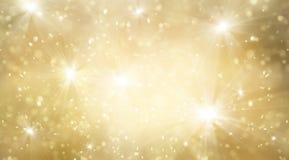 Abstrakta guld och ljusa blänker för bakgrund för nytt år royaltyfri illustrationer