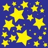 Abstrakta guld- stjärnor på en blå bakgrundsvektor stock illustrationer