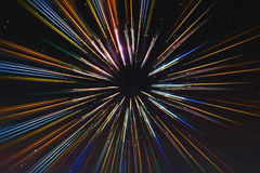 Abstrakta hastighetslinjer vinkar, med stjärnabakgrund, utrymmeloppet, tidloppbegrepp Arkivbild