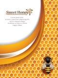 Abstrakta Honey Background med det funktionsdugliga biet Arkivbild