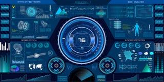 Abstrakta HUD beståndsdelar för design för UI UX Science fiction Arkivfoton