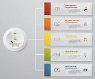 Abstrakta Infographics 5 beståndsdelar för momentbanerdesign orienteringsmall för 5 moment Royaltyfri Bild