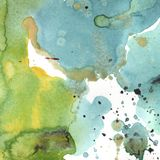 Abstrakta isolerad teckning för vattenfärgpappersfärgstänk former Illustrationaquarelle för bakgrund stock illustrationer