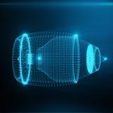 Abstrakta Jet Engine, abstrakt Polygonal bestå av blåa prickar och linjer Jet Engine på blåtttonbakgrund, 3D Royaltyfri Foto