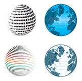 Abstrakta jordklotsymboler och symboler Arkivfoto