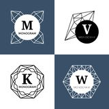 Abstrakta juvelädelstenar, diamantsmycken, kristall formar vektormonogram, logoer vektor illustrationer