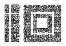 Abstrakta koronkowy tasiemkowy bezszwowy wzór Szablon linii projekt doily koronka Fotografia Royalty Free