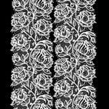 Abstrakta koronkowy tasiemkowy bezszwowy wzór z elementami kwitnie ilustracja wektor