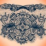 Abstrakta koronkowy tasiemkowy bezszwowy wzór z elementami kwitnie Obraz Royalty Free