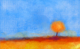 Abstrakta krajobraz, drzewo i pole obraz olejny, Fotografia Royalty Free
