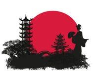 abstrakta krajobraz z Azjatycką dziewczyną royalty ilustracja