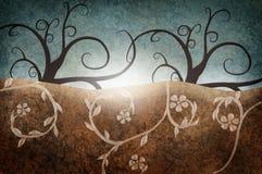 Abstrakta krajobraz z nagimi drzewami ilustracji
