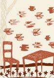 Abstrakta krajobraz z stołu i krzeseł obwódką ptakami Zdjęcie Stock