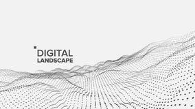 Abstrakta Krajobrazowy wektor Cząsteczka Wireframe Duży przepływ Cyber pojęcie futurystyczna grafika Reliefowa struktura 3d royalty ilustracja