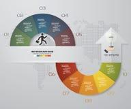 Abstrakta 10 kroków infographis z strzałkowatymi kształtów elementami również zwrócić corel ilustracji wektora Obrazy Stock