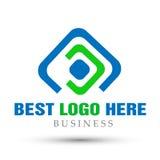 Abstrakta kwadrat kształtujący biznesowy logo, zjednoczenie na Korporacyjnym Inwestuje Biznesowego loga projekt Pieniężna inwesty ilustracji