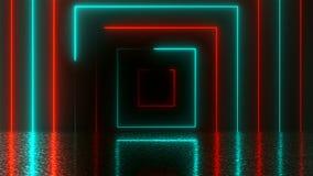 Abstrakta kwadratowy neonowy tunel z odbiciem, komputer wytwarzał tło, 3D rendering royalty ilustracja