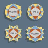 Abstrakta låga poly moderna etiketter För vektor poly ram lågt med utrymme för idérik låg poly beståndsdel för textmall vektor Arkivbilder