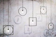 Abstrakta lampor på betongväggen royaltyfri illustrationer