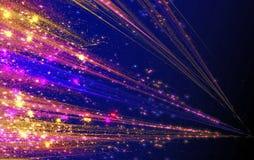 Abstrakta laserstrålar med ilsken blickgnistor och stjärnor Arkivfoto