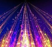 Abstrakta laserstrålar med ilsken blickgnistor och stjärnor Arkivbild