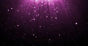 Abstrakta lilor blänker partikelbakgrund med glänsande stjärnor som ner faller och, tänder signalljuset eller att glo samkopierin vektor illustrationer