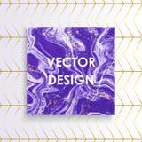 Abstrakta lilor marmorerar texturkortet, purpurfärgade guld- linjer modellbakgrund för vektorn, förlägger din text royaltyfri illustrationer