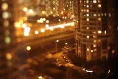 Abstrakta ljus, exponering, nattstad Arkivbild