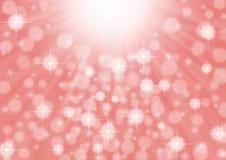 Abstrakta ljusa ljusa strålar, mousserar och Bokeh i rosa bakgrund fotografering för bildbyråer